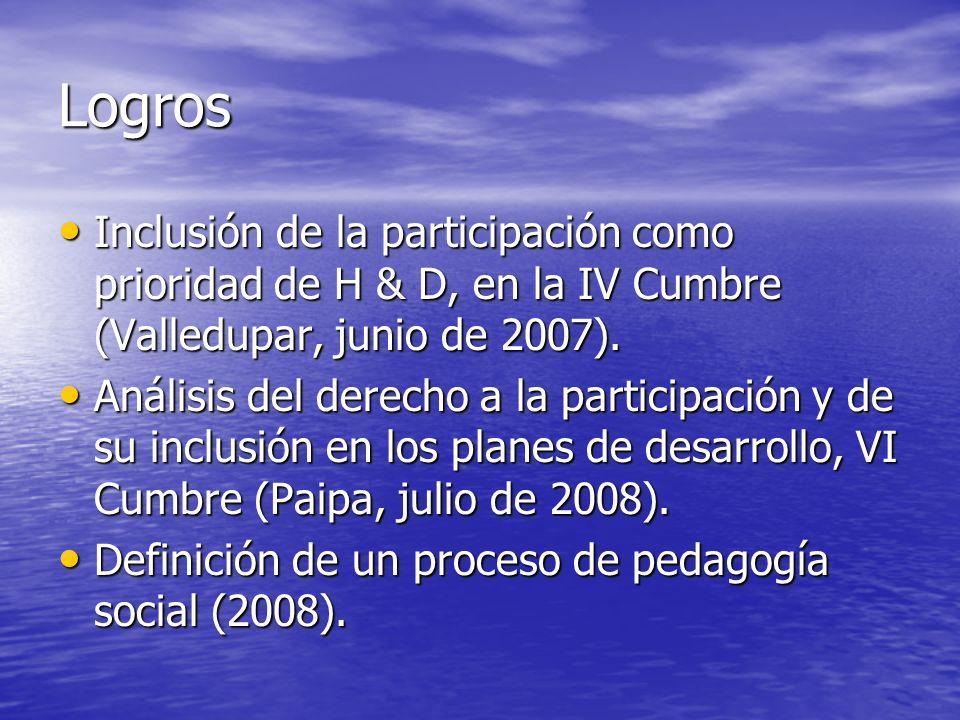 Logros Inclusión de la participación como prioridad de H & D, en la IV Cumbre (Valledupar, junio de 2007).