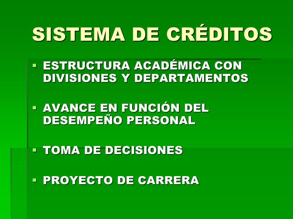 SISTEMA DE CRÉDITOS ESTRUCTURA ACADÉMICA CON DIVISIONES Y DEPARTAMENTOS. AVANCE EN FUNCIÓN DEL DESEMPEÑO PERSONAL.