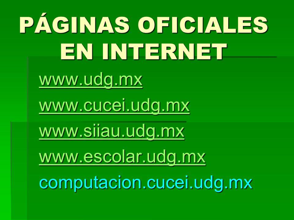 PÁGINAS OFICIALES EN INTERNET