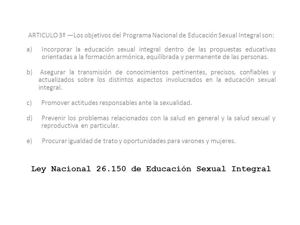 Ley Nacional 26.150 de Educación Sexual Integral