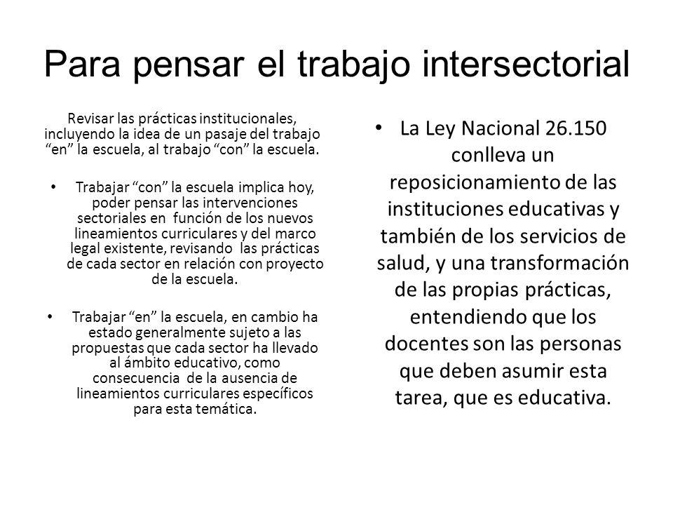 Para pensar el trabajo intersectorial