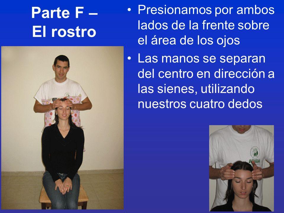 Parte F – El rostro Presionamos por ambos lados de la frente sobre el área de los ojos.