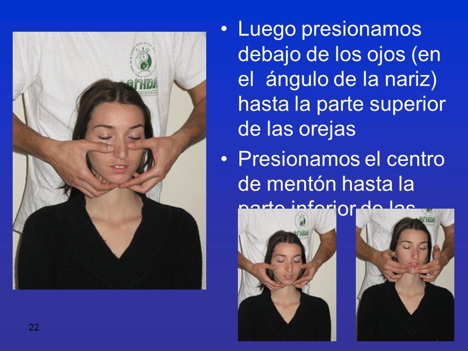 Luego presionamos debajo de los ojos (en el ángulo de la nariz) hasta la parte superior de las orejas