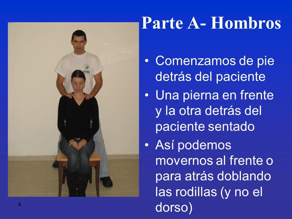 Parte A- Hombros Comenzamos de pie detrás del paciente