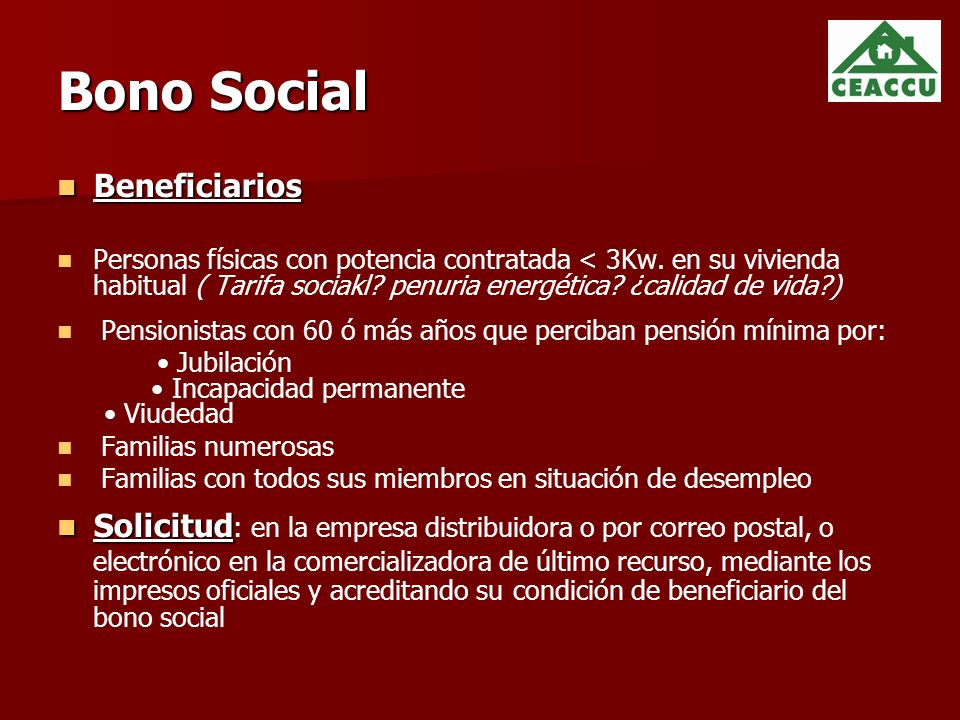 Bono Social Beneficiarios