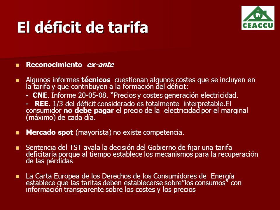El déficit de tarifa Reconocimiento ex-ante