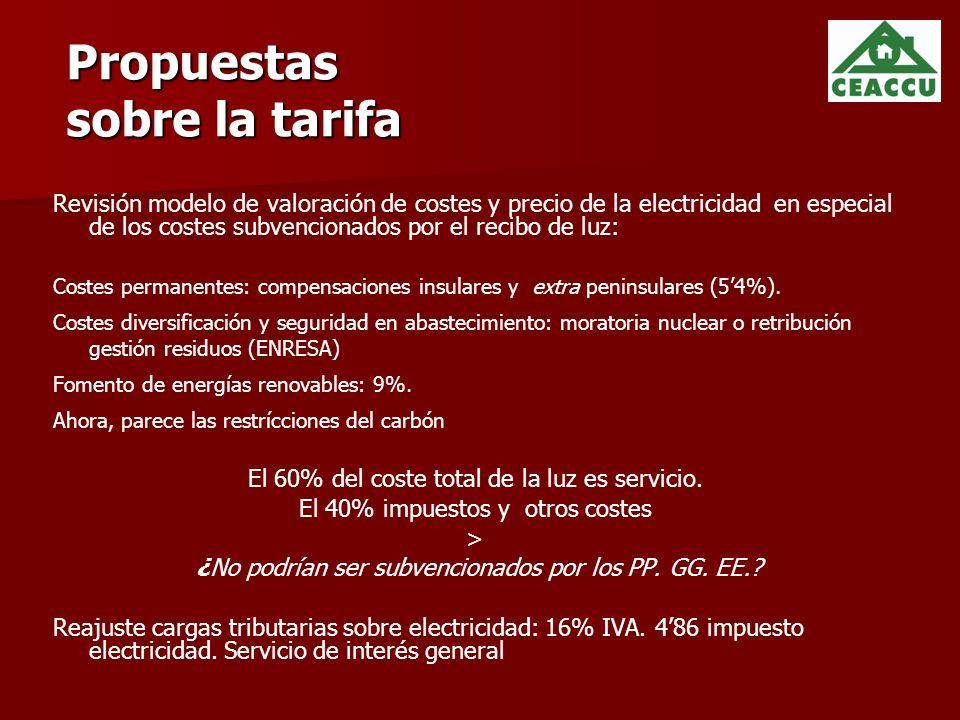 Propuestas sobre la tarifa