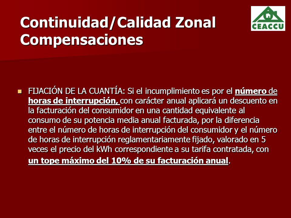 Continuidad/Calidad Zonal Compensaciones