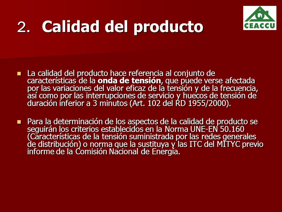2. Calidad del producto