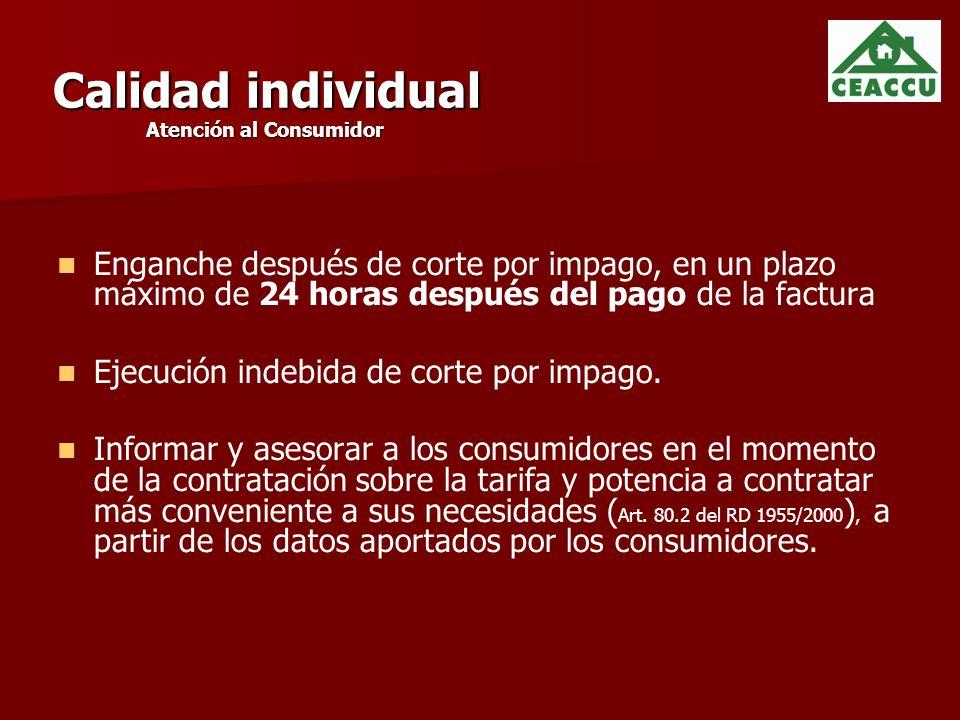 Calidad individual Atención al Consumidor