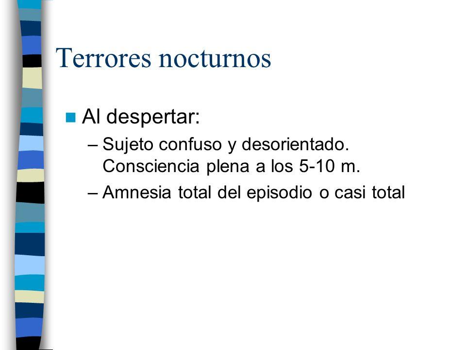 Terrores nocturnos Al despertar: