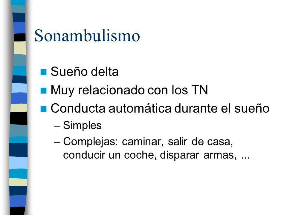 Sonambulismo Sueño delta Muy relacionado con los TN