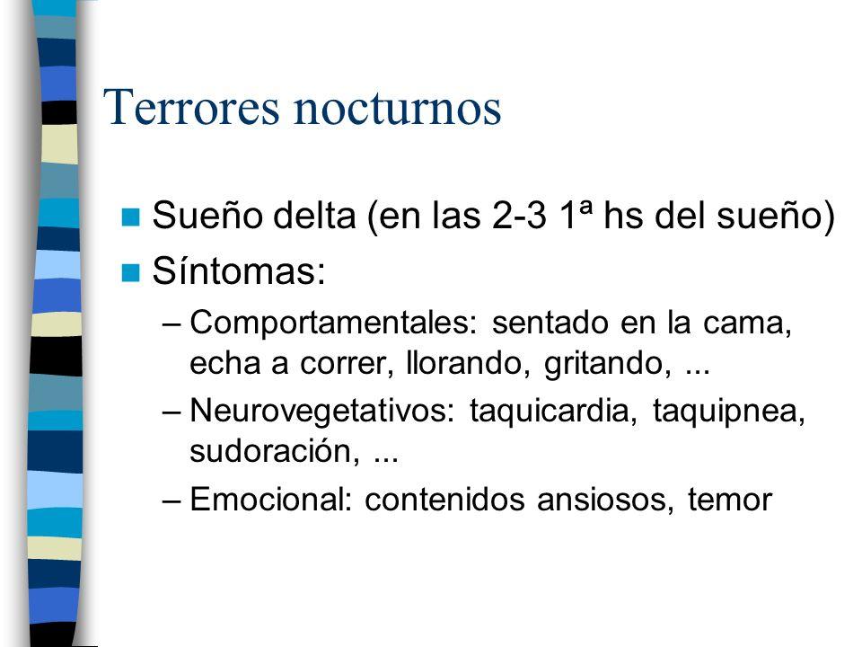 Terrores nocturnos Sueño delta (en las 2-3 1ª hs del sueño) Síntomas: