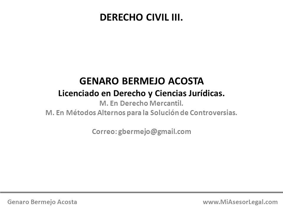 DERECHO CIVIL III. GENARO BERMEJO ACOSTA