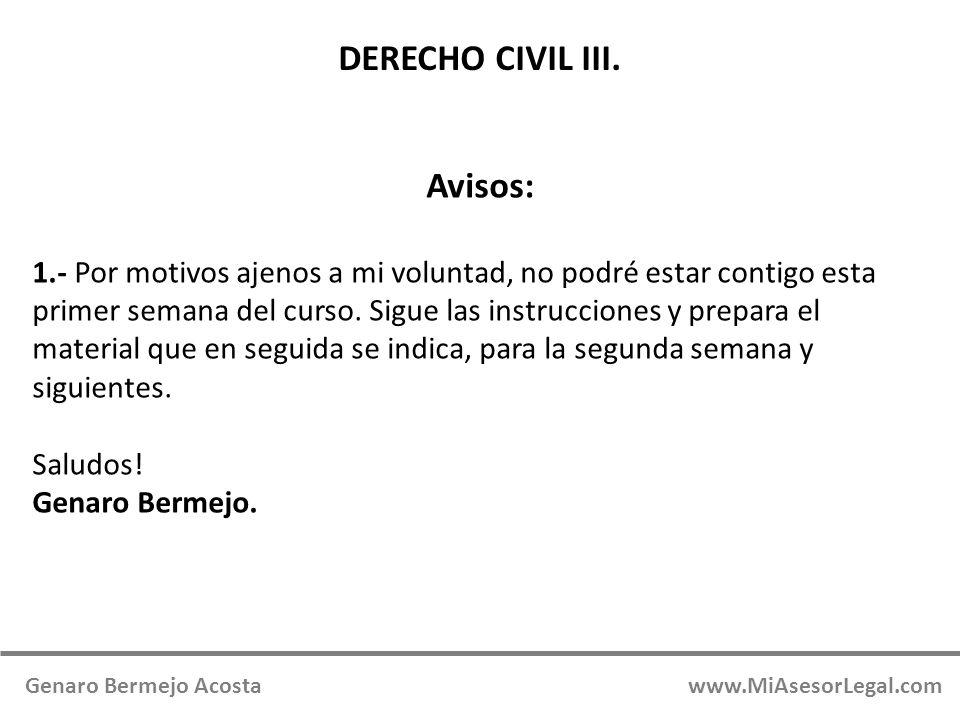DERECHO CIVIL III. Avisos: