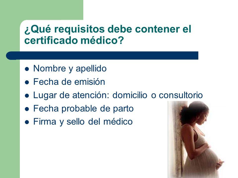 ¿Qué requisitos debe contener el certificado médico