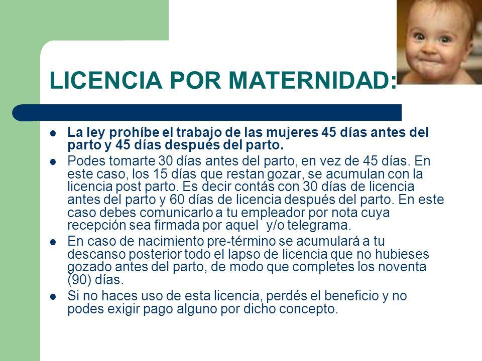 LICENCIA POR MATERNIDAD: