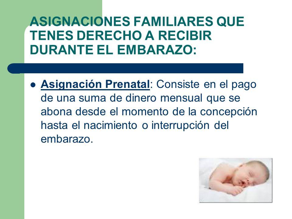 ASIGNACIONES FAMILIARES QUE TENES DERECHO A RECIBIR DURANTE EL EMBARAZO: