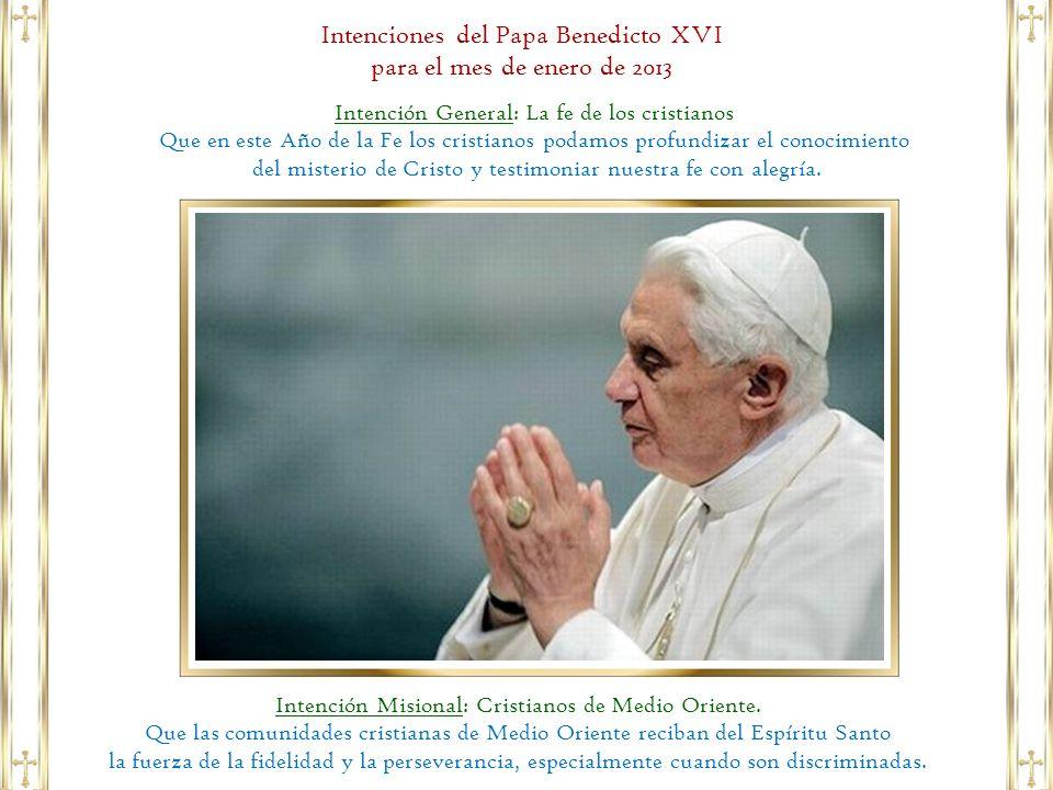 Intenciones del Papa Benedicto XVI para el mes de enero de 2013