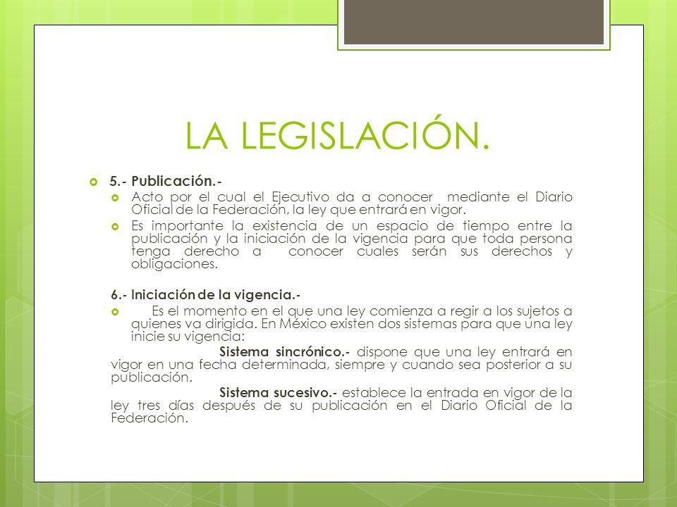 LA LEGISLACIÓN. 5.- Publicación.-