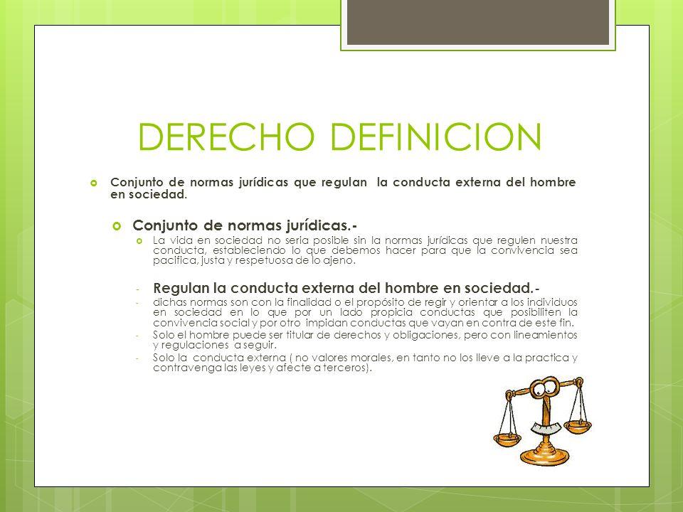 DERECHO DEFINICION Conjunto de normas jurídicas.-