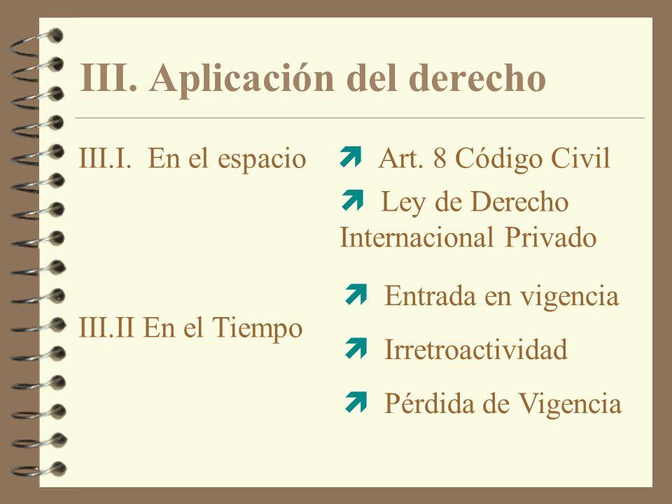 III. Aplicación del derecho