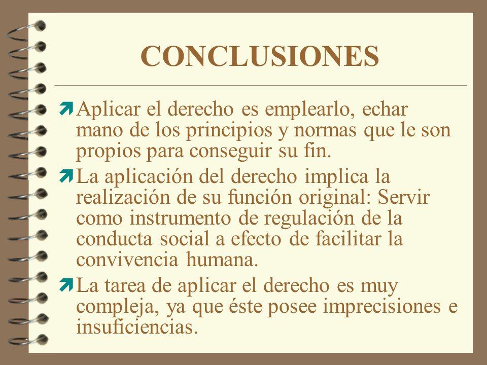CONCLUSIONES Aplicar el derecho es emplearlo, echar mano de los principios y normas que le son propios para conseguir su fin.