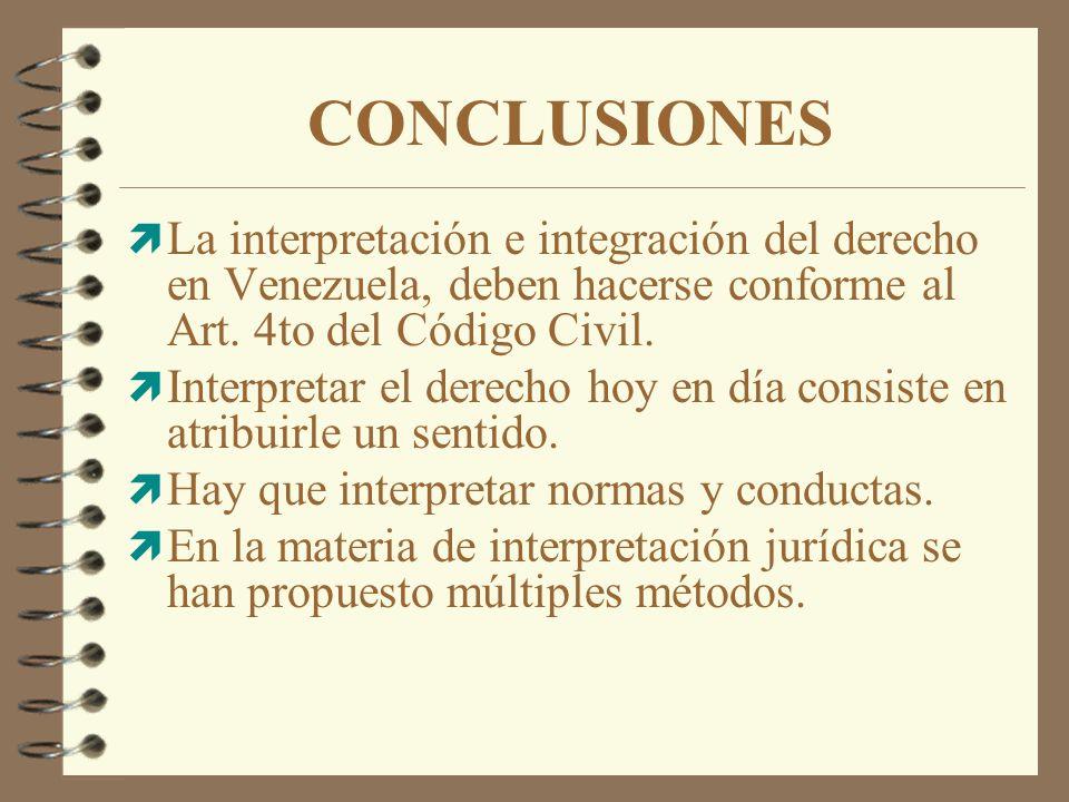 CONCLUSIONES La interpretación e integración del derecho en Venezuela, deben hacerse conforme al Art. 4to del Código Civil.