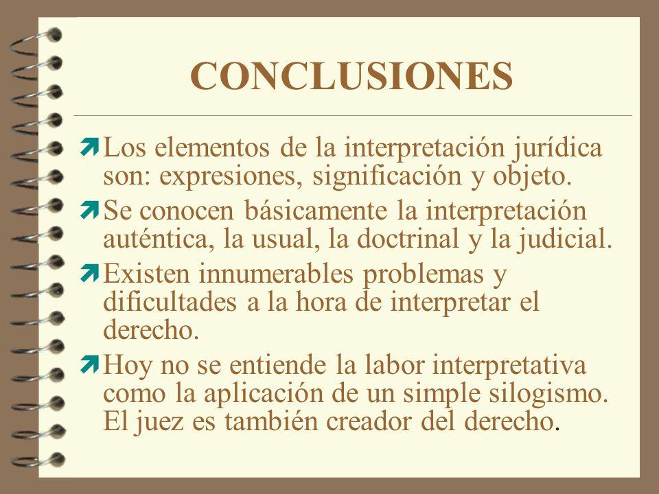CONCLUSIONES Los elementos de la interpretación jurídica son: expresiones, significación y objeto.
