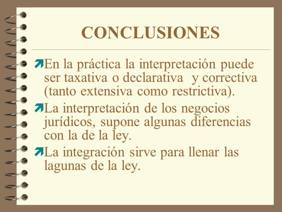 CONCLUSIONES En la práctica la interpretación puede ser taxativa o declarativa y correctiva (tanto extensiva como restrictiva).