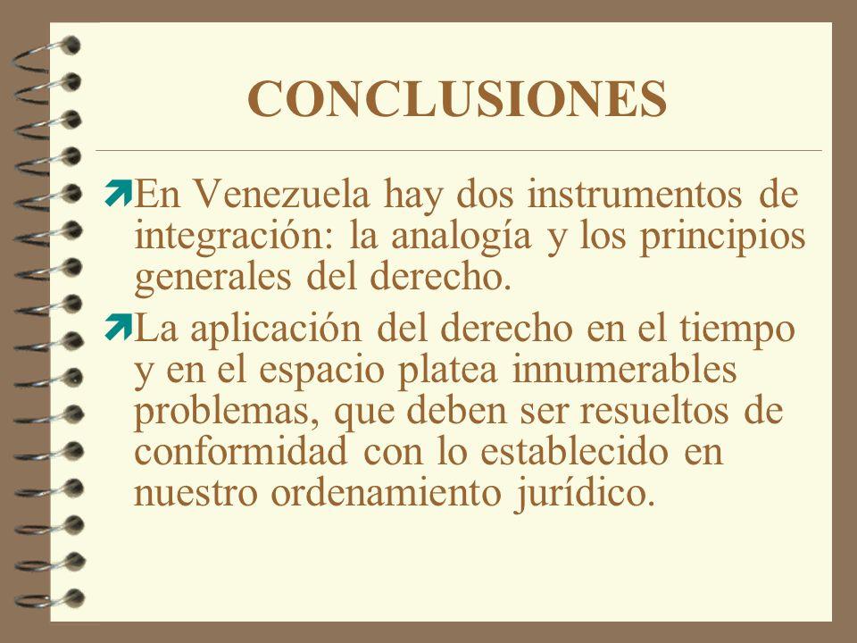 CONCLUSIONES En Venezuela hay dos instrumentos de integración: la analogía y los principios generales del derecho.