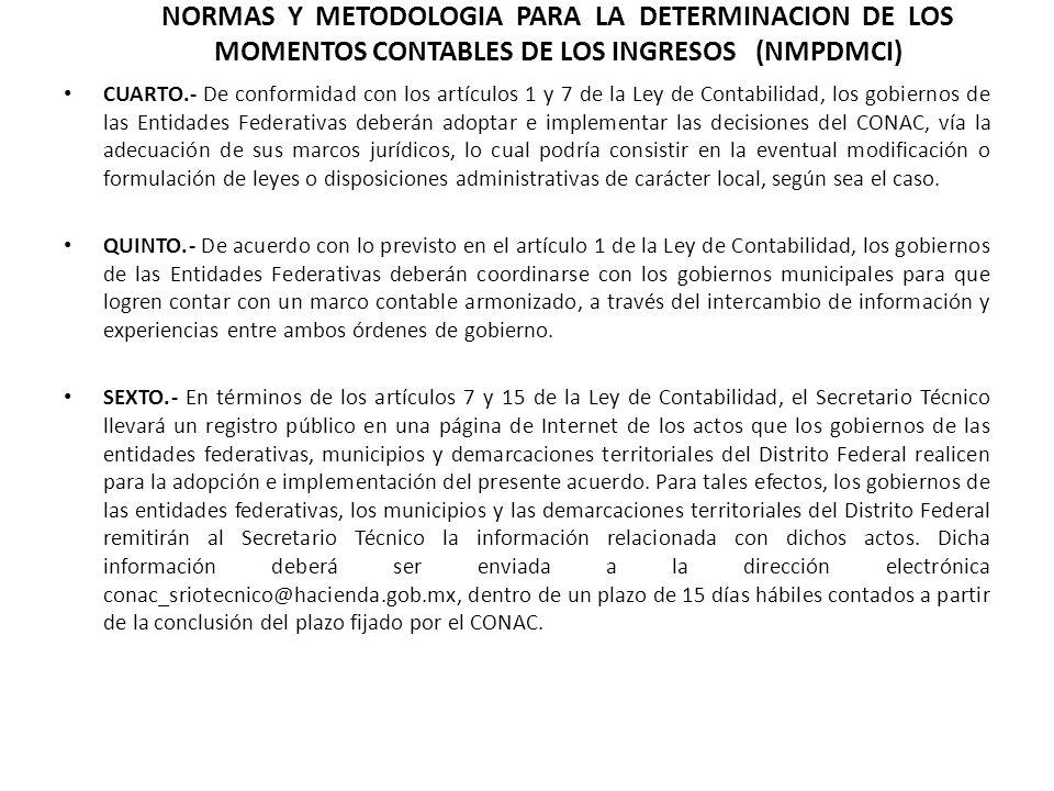 NORMAS Y METODOLOGIA PARA LA DETERMINACION DE LOS MOMENTOS CONTABLES DE LOS INGRESOS (NMPDMCI)