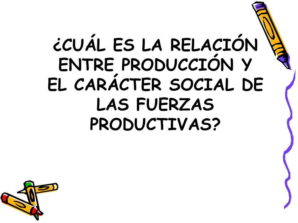 ¿CUÁL ES LA RELACIÓN ENTRE PRODUCCIÓN Y EL CARÁCTER SOCIAL DE LAS FUERZAS PRODUCTIVAS