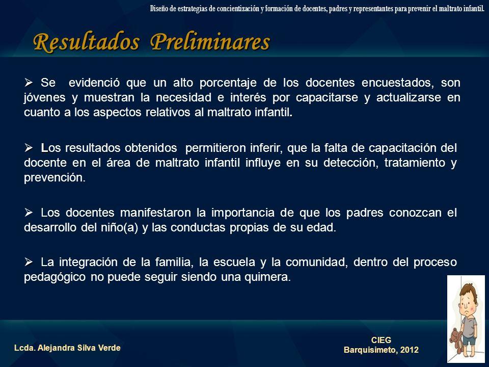 Resultados Preliminares Lcda. Alejandra Silva Verde