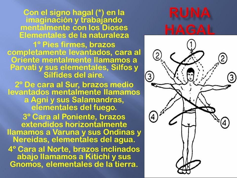 RUNA HAGAL Con el signo hagal (*) en la imaginación y trabajando mentalmente con los Dioses Elementales de la naturaleza.