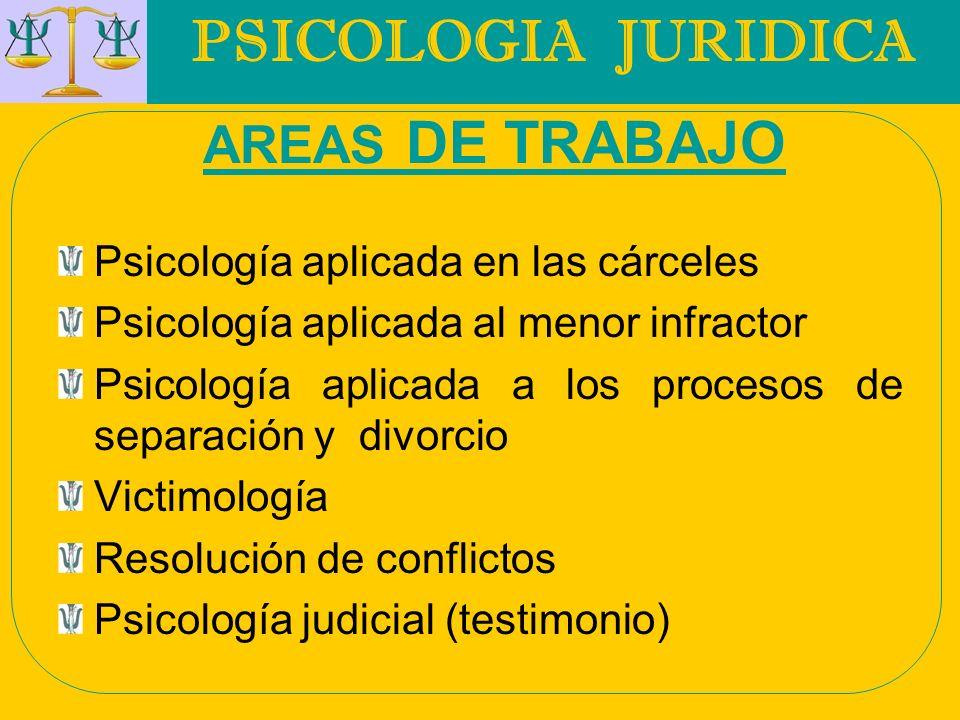 PSICOLOGIA JURIDICA AREAS DE TRABAJO
