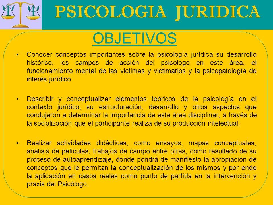 PSICOLOGIA JURIDICA OBJETIVOS