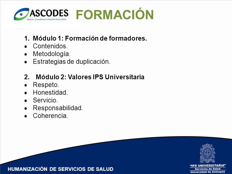 FORMACIÓN Módulo 1: Formación de formadores. Contenidos. Metodología.