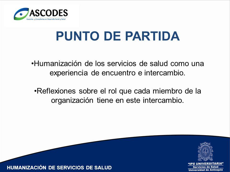 PUNTO DE PARTIDA Humanización de los servicios de salud como una
