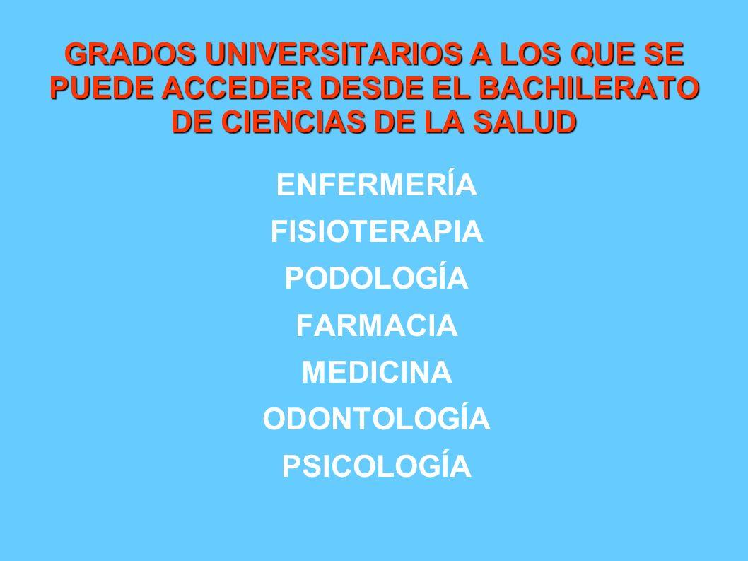 GRADOS UNIVERSITARIOS A LOS QUE SE PUEDE ACCEDER DESDE EL BACHILERATO DE CIENCIAS DE LA SALUD