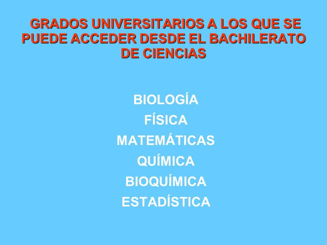 GRADOS UNIVERSITARIOS A LOS QUE SE PUEDE ACCEDER DESDE EL BACHILERATO DE CIENCIAS
