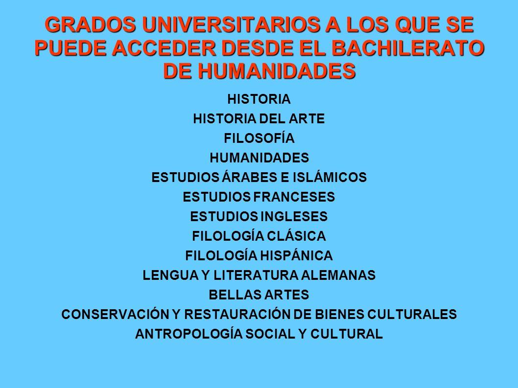 GRADOS UNIVERSITARIOS A LOS QUE SE PUEDE ACCEDER DESDE EL BACHILERATO DE HUMANIDADES