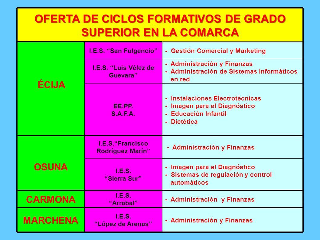 OFERTA DE CICLOS FORMATIVOS DE GRADO SUPERIOR EN LA COMARCA