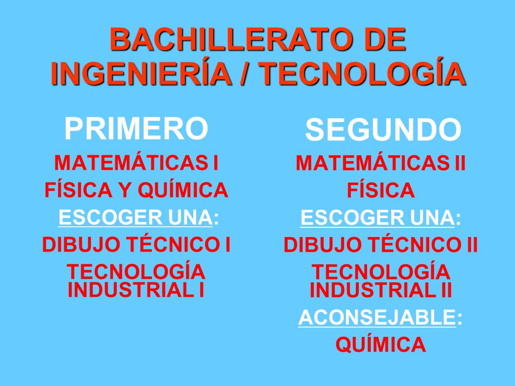 BACHILLERATO DE INGENIERÍA / TECNOLOGÍA