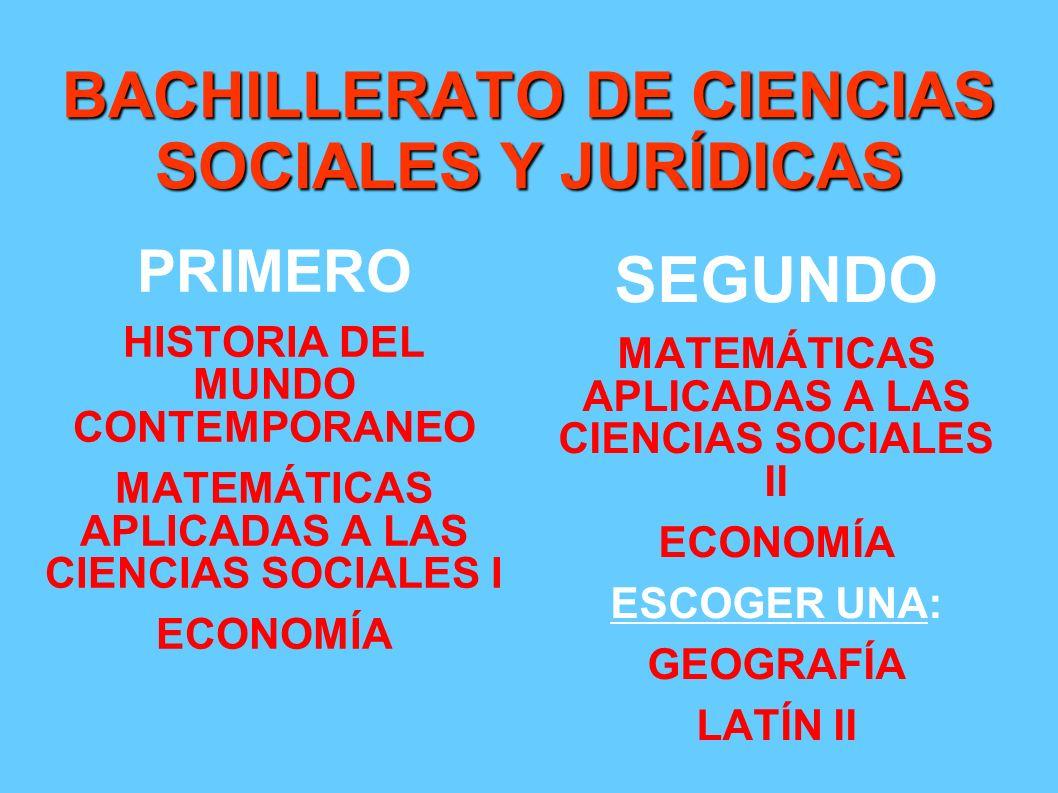 BACHILLERATO DE CIENCIAS SOCIALES Y JURÍDICAS