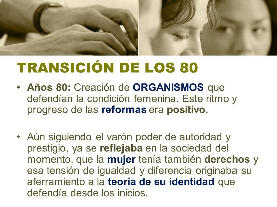 TRANSICIÓN DE LOS 80 Años 80: Creación de ORGANISMOS que defendían la condición femenina. Este ritmo y progreso de las reformas era positivo.