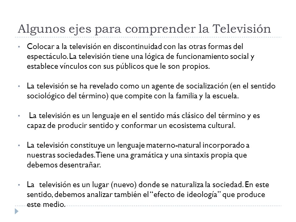 Algunos ejes para comprender la Televisión