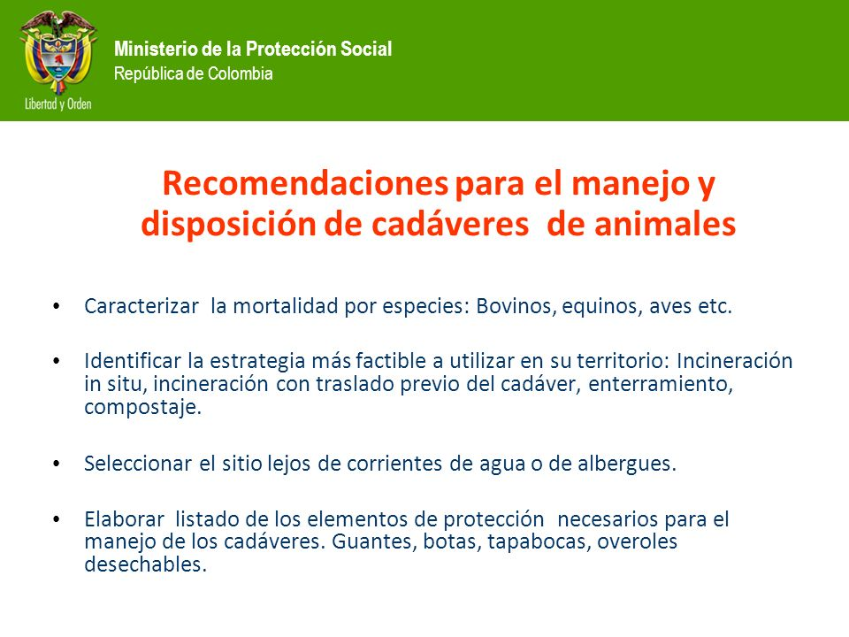 Recomendaciones para el manejo y disposición de cadáveres de animales