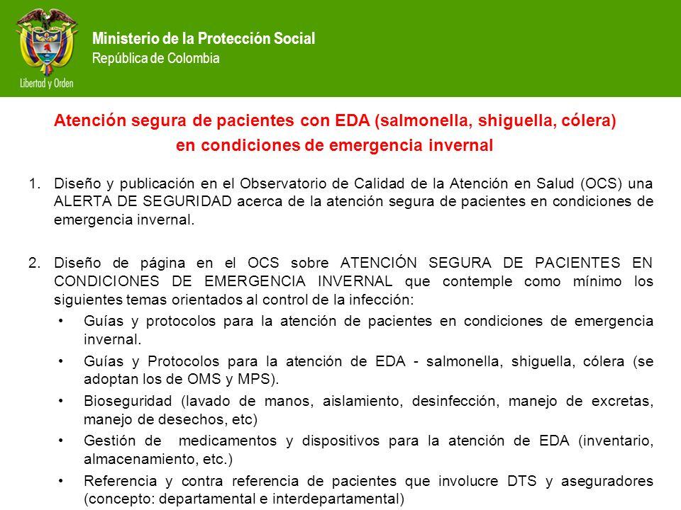 Atención segura de pacientes con EDA (salmonella, shiguella, cólera)