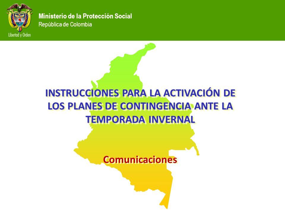 INSTRUCCIONES PARA LA ACTIVACIÓN DE LOS PLANES DE CONTINGENCIA ANTE LA TEMPORADA INVERNAL